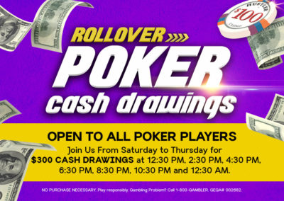 Rollover Poker Cash Drawings