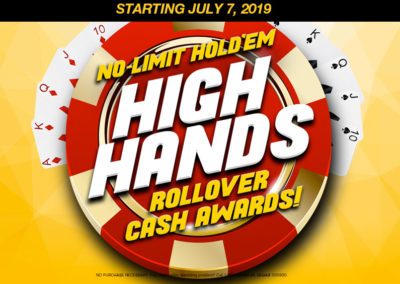 No Limit Hold'em High Hands Rollover Cash Awards